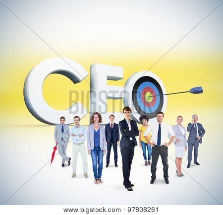 Business team against ceo graphic