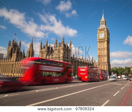 Big Ben And London Buses