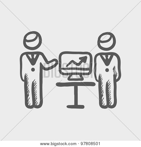 Two men and their business report sketch icon for web and mobile. Hand drawn vector dark grey icon on light grey background.
