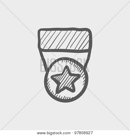 One star medal sketch icon for web and mobile. Hand drawn vector dark grey icon on light grey background.