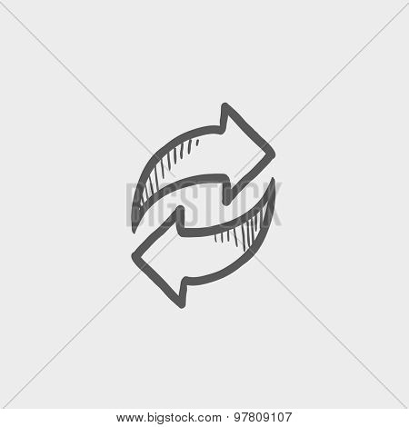 Arrows with left and right direction sketch icon for web and mobile. Hand drawn vector dark grey icon on light grey background.