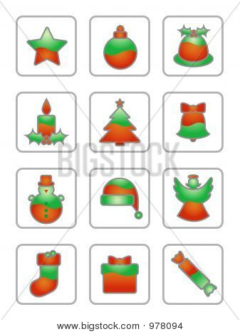 Christmas Icon Set On White