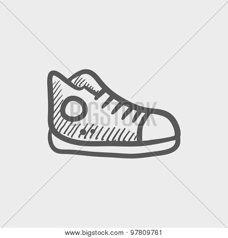 Hi-cut rubber shoes sketch icon for web and mobile. Hand drawn vector dark grey icon on light grey background.