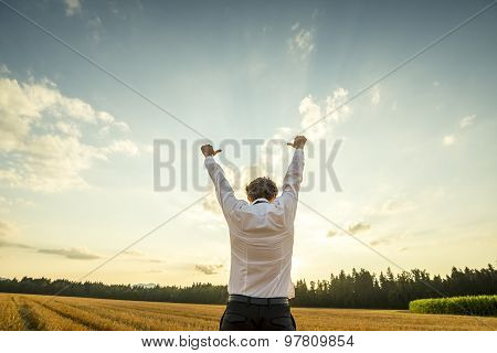 Businessman Raising Arms For Success At The Field
