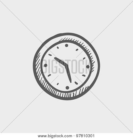 Wallclock sketch icon for web and mobile. Hand drawn vector dark grey icon on light grey background.