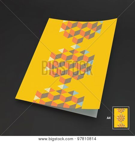 A4 business blank. Template for design layout. Hexagon shape with cubes inscribed. 3d vector illustration. Can be used for business concepts.