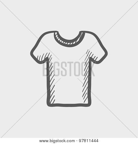 T-shirt sketch icon for web and mobile. Hand drawn vector dark grey icon on light grey background.