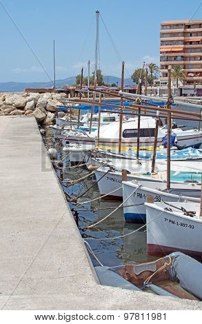 Moored Boats In Cala Estancia