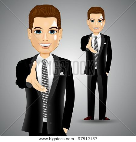 businessman extending right hand for handshake