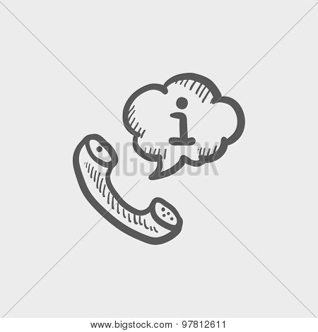 Talking by phone via internet sketch icon for web and mobile. Hand drawn vector dark grey icon on light grey background.