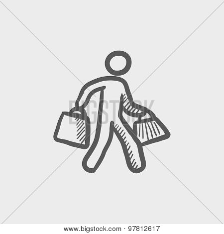 Man carrying shopping bags sketch icon for web and mobile. Hand drawn vector dark grey icon on light grey background.