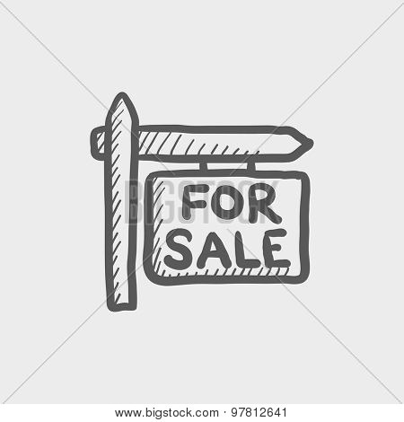 For sale signboard sketch icon for web and mobile. Hand drawn vector dark grey icon on light grey background.