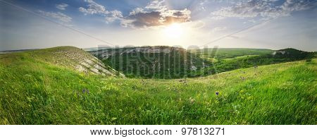 Mountain panorama landscape. Nature composition.
