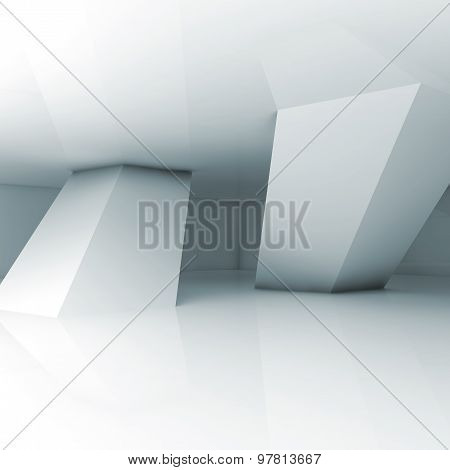 Abstract Empty White 3D Interior Illustration