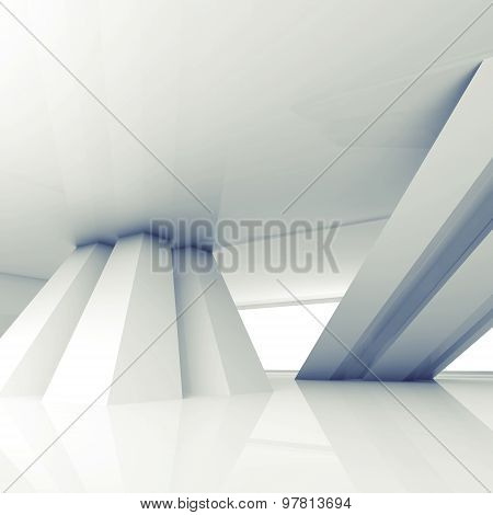 Abstract Empty Interior With Inclined Columns 3D