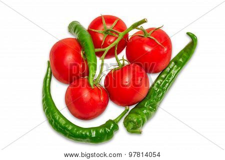 Branch Of Tomatoes And Several Green Peppers Chili