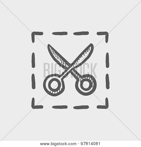 Scissors with cut lines sketch icon for web and mobile. Hand drawn vector dark grey icon on light grey background.