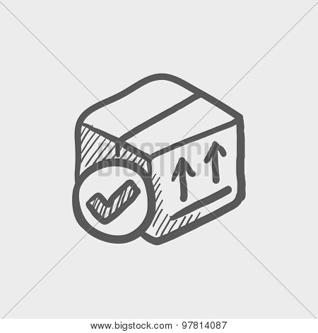 Box with validation mark sketch icon for web and mobile. Hand drawn vector dark grey icon on light grey background.