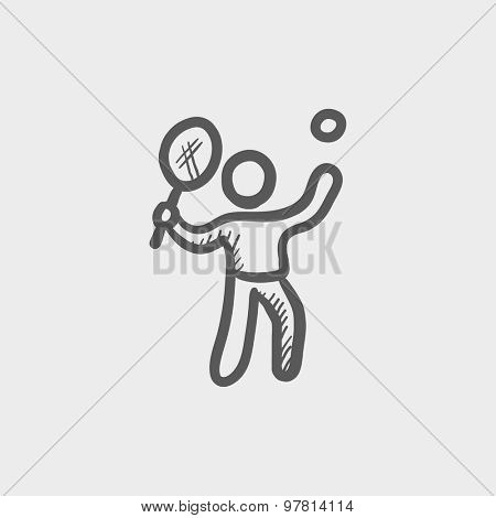 Tennis player in serving position sketch icon for web and mobile. Hand drawn vector dark grey icon on light grey background.