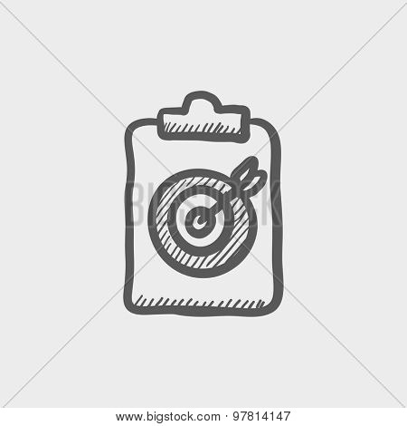 Business and finance target sketch icon for web and mobile. Hand drawn vector dark grey icon on light grey background.