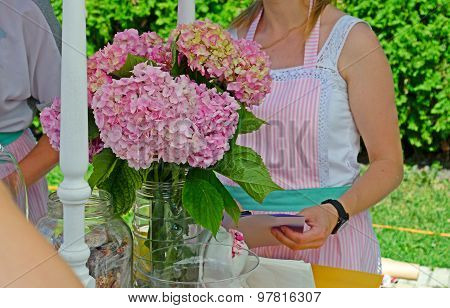 Pink flowers on table