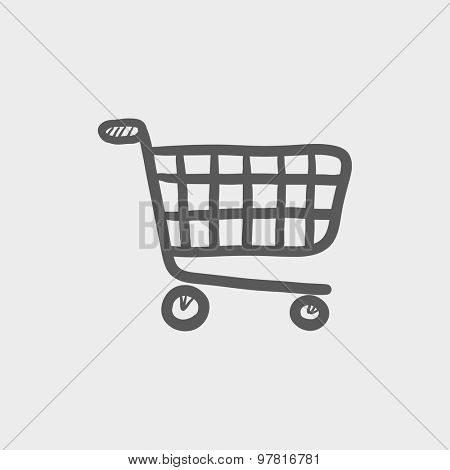 Shopping cart sketch icon for web and mobile. Hand drawn vector dark gray icon on light gray background.
