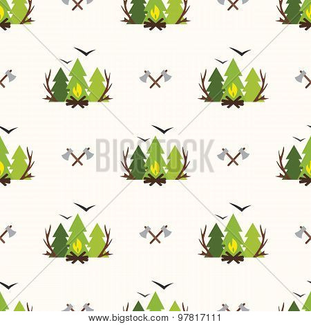 Cute Seamless Pattern Camping
