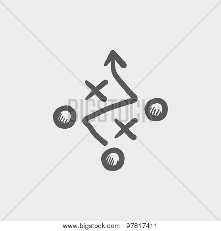 Tic-tac-toe sketch icon for web and mobile. Hand drawn vector dark gray icon on light gray background.