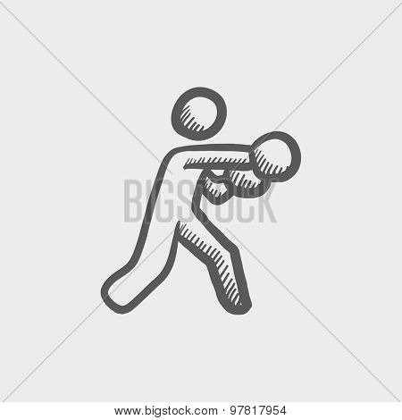Boxing man punch sketch icon for web and mobile. Hand drawn vector dark gray icon on light gray background.