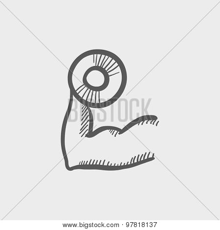 Arm muscle with dumbbell sketch icon for web and mobile. Hand drawn vector dark gray icon on light gray background.