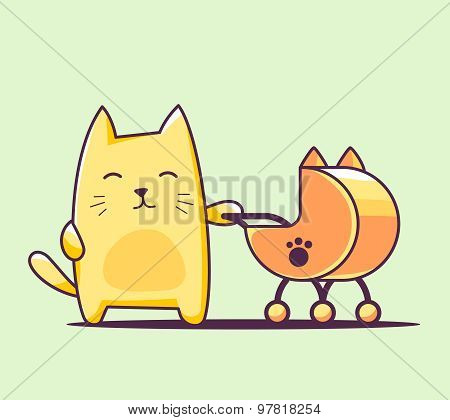 Vector Illustration Of Color Character Cat With Baby Carriage On Green Background.