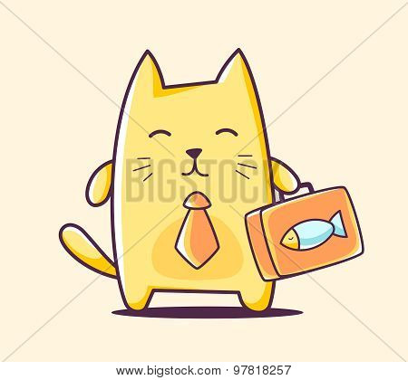 Vector Illustration Of Color Business Character Cat With Briefcase On Yellow Background.