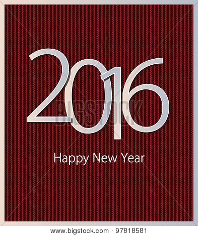 Cover a set of calendar 2016 on knitted background with metallic effect