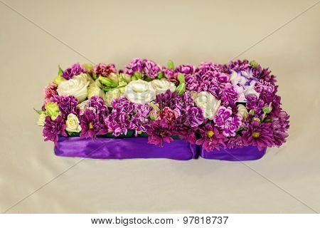 Beautiful flower composition on the wedding table