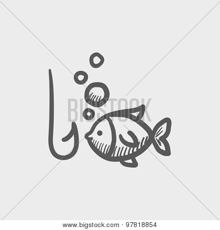 Fish with hook sketch icon for web and mobile. Hand drawn vector dark gray icon on light gray background.