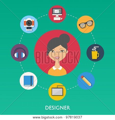 Designer, Character Illustration, Icons.