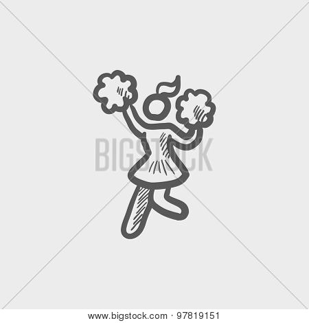 Cheerleader with pompom  sketch icon for web and mobile. Hand drawn vector dark gray icon on light gray background.