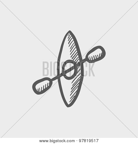 Kayak with paddle sketch icon for web and mobile. Hand drawn vector dark gray icon on light gray background.