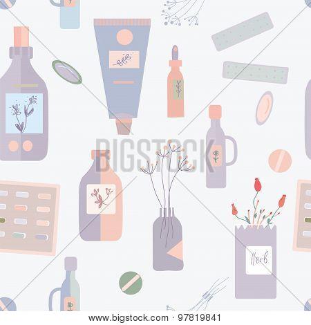 Pills And Medications Seamless Pattern - Vector Illustration