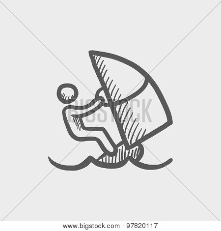 Wind surfing sketch icon for web and mobile. Hand drawn vector dark grey icon on light grey background.