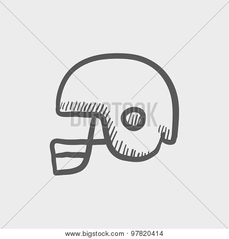 Football helmet sketch icon for web and mobile. Hand drawn vector dark grey icon on light grey background.