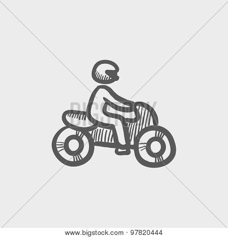 Motorbike sketch icon for web and mobile. Hand drawn vector dark grey icon on light grey background.