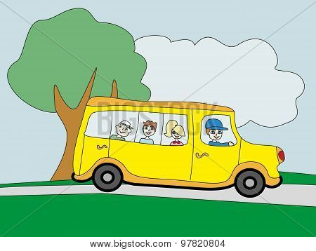 Illustration Of A School Bus Heading To School With Happy Children
