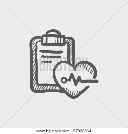Heartbeat record sketch icon for web and mobile. Hand drawn vector dark grey icon on light grey background.