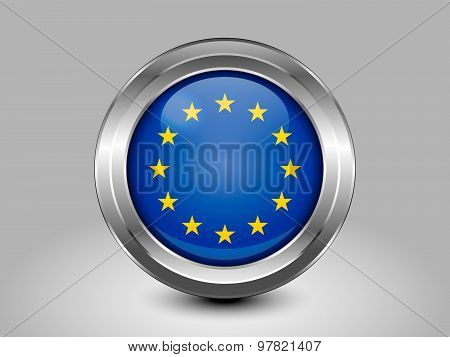 Flag Of European Union. Metal Round Icon