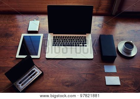 Open laptop computer with white blank copy space screen for text message or content