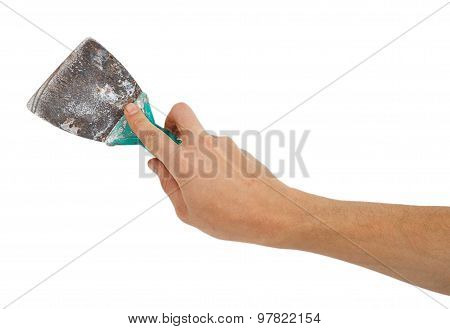 Old Trowel In Male Hand