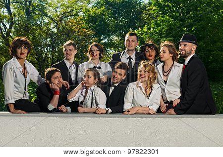 Friends in tuxedo