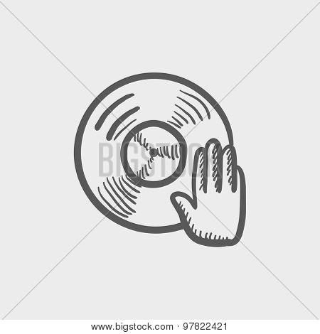 Vinyl disc with hand disc jockey sketch icon for web and mobile. Hand drawn vector dark grey icon on light grey background.