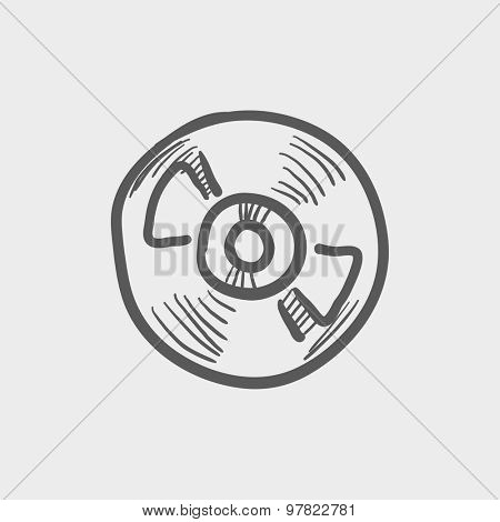Reel tape deck player recorder sketch icon for web and mobile. Hand drawn vector dark grey icon on light grey background.
